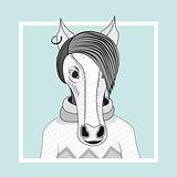 Fashion illustration of horse hipster