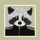 Hand drawn fashion Illustration of Raccoon.