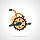 Flat color bike crankset vector icon.
