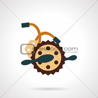 Flat color bike crankset vector icon.