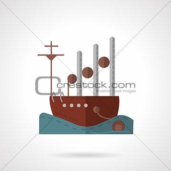 Flat navy vessel vector icon