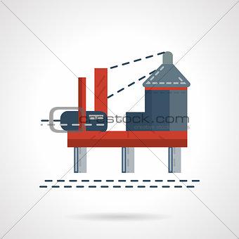 Flat color sea oil platform vector icon