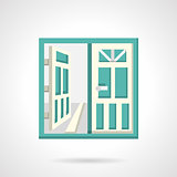 Open glass doors flat vector icon.