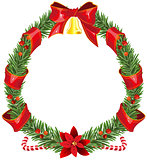 Christmas fir wreath with red ribbon and bell