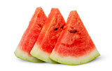 In front threel slices of watermelon stacked ladder