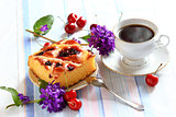 Cherry pie and cup of tea