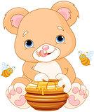 Bear Holds Honey Jar