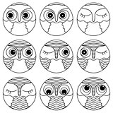Nine outlines of owl faces in a circle