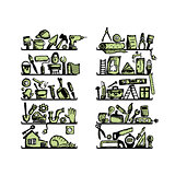 Repair home icons on shelves, sketch for your design