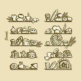 Bakery on shelves, sketch for your design