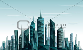 Abstract futuristic City made with triangle and geometrical form