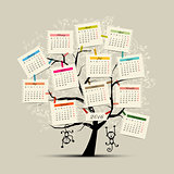 Calendar tree design 2016 with monkey symbol of year