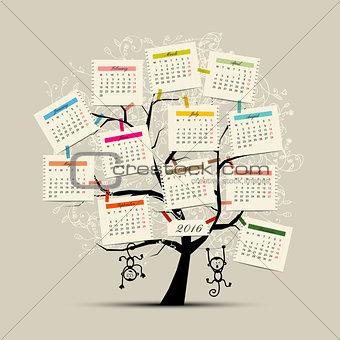 Calendar tree design 2016 with monkey symbol of year