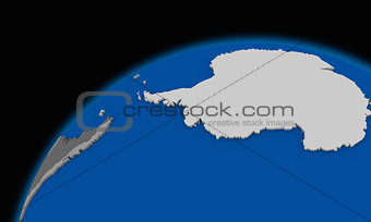 Antarctica on planet Earth political map