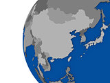 east Asia region on political globe