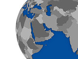 Middle east region on political globe