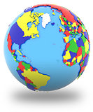 Western hemisphere on the globe