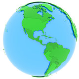 North and South America on Earth