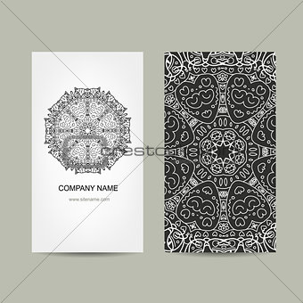 Business card design. Ornate background