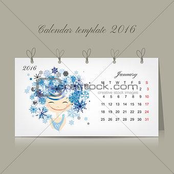 Calendar 2016, january month. Season girls design