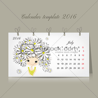 Calendar 2016, july month. Season girls design