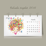 Calendar 2016, october month. Season girls design