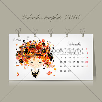 Calendar 2016, november month. Season girls design