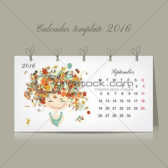 Calendar 2016, september month. Season girls design