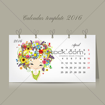 Calendar 2016, april month. Season girls design