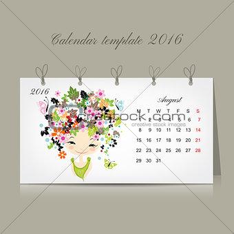 Calendar 2016, august month. Season girls design