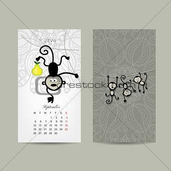 Calendar grid design. Monkey, symbol of year 2016