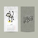Calendar grid design. Monkey, symbol of year 2016