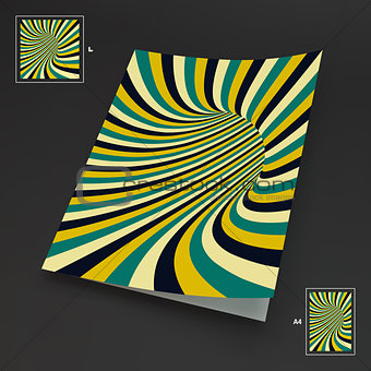 A4 Business Blank. Abstract Striped Background. Optical Art.