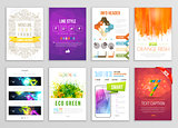 Set of Flyer, Brochure, Background, Infographic, Banner Designs. Vector Poster Templates. Paint Splashes Abstract Background for Business Card