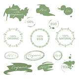 Set of natural organic eco badges and labels. Vector
