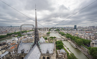 Skyline of Paris from Notre Dame with Seine river