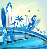 surfboard  background on sky background