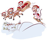 Santa Claus and reindeer met monkey symbol 2016. Monkey skiing