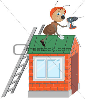 Ant worker with drill repairing roof