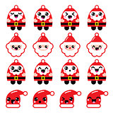 Kawaii Santa Claus cute character icons - head, body, Santa's hat