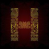 Vector Gold Mono Line style Geometric Font for Design Text, Slogan, Template or Advertising. Golden Monogram Design elements for Invitation, Postcard, Badges or Advertising. Letter H