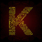 Vector Gold Mono Line style Geometric Font for Design Text, Slogan, Template or Advertising. Golden Monogram Design elements for Invitation, Postcard, Badges or Advertising. Letter K