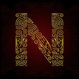 Vector Gold Mono Line style Geometric Font for Design Text, Slogan, Template or Advertising. Golden Monogram Design elements for Invitation, Postcard, Badges or Advertising. Letter N