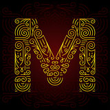 Vector Gold Mono Line style Geometric Font for Design Text, Slogan, Template or Advertising. Golden Monogram Design elements for Invitation, Postcard, Badges or Advertising. Letter M