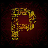 Vector Gold Mono Line style Geometric Font for Design Text, Slogan, Template or Advertising. Golden Monogram Design elements for Invitation, Postcard, Badges or Advertising. Letter P