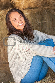 Beautiful Asian Eurasian Girl Woman Sitting on Hay Bale