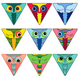 Nine amusing owl faces in triangle shapes