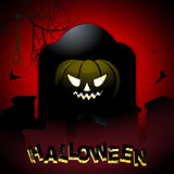 Halloween tombstone and pumpkin background
