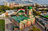 Bird eye view on Ilyinsky temple. Tyumen. Russia
