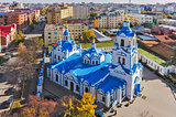Aerial view on Znamensky church. Tyumen. Russia
